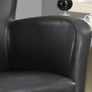 30″ x 30″ x 35″ Grey, Black, Foam, Solid Wood, Leather-Look – Accent Chair