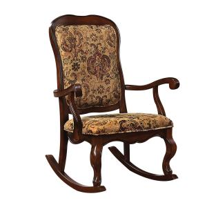 ACME Sharan Rocking Chair, Fabric & Cherry-Color:Fabric & Cherry,Quantity:1,Style:Traditional