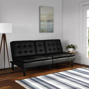 Mainstays Memory Foam Pillowtop Futon with Cupholders, Black Faux Leather