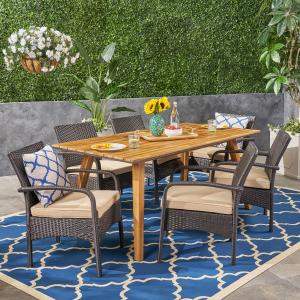 Gideon Outdoor 7 Piece Industrial Acacia Wood and Wicker Square Dining Set with Cushions, Brown, Teak, Tan