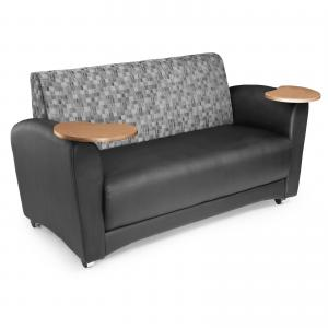 OFM InterPlay Series Model 822 Double Tablet Sofa, Taupe Seat with Plum Back and Tungston Tablet
