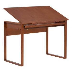 SD Alpha Wood Drafting Table with 42″ Wide x 24″ Deep Angle Adjustable Top in Medium Brown
