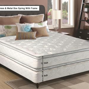 Continental Sleep, 12-Inch Medium Plush Pillowtop, Innerspring type Doublesided Mattress and 8″ Semi Flex Box Spring with Frame, Twin Size