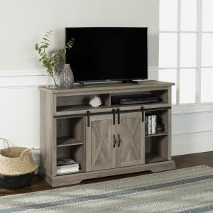 Manor Park Farmhouse Barn Door TV Stand for TVs up to 58″, Grey Wash