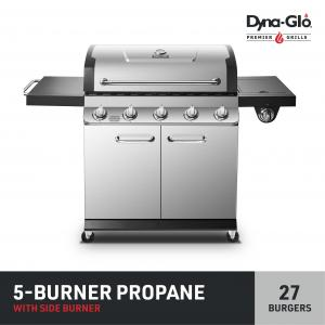 Dyna-Glo Propane Gas Grill Outdoor BBQ w/ Side Burner – Premier 5 Burner Stainless Steel