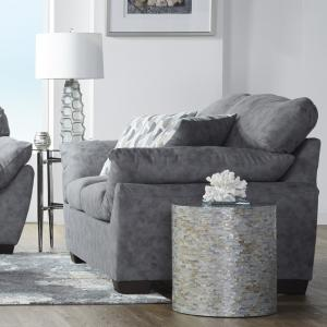 Lore Modern Fabric Pillow Arm Loveseat in Dolphin Bay Gray