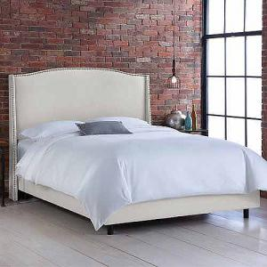 Skyline Furniture Talc Upholstered Wingback Bed with Nailheads, Multiple Sizes