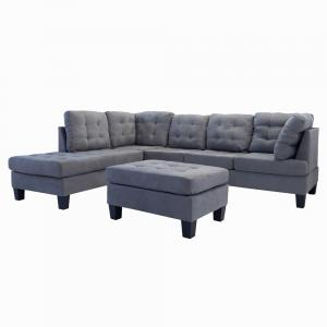3 Piece Modern Large Tufted Dark Grey Microfiber Sectional Sofa, Dark Grey