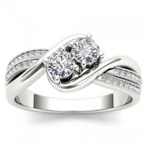 1/2 Carat T.W. Diamond 10kt White Gold Two-Stone Bypass Band