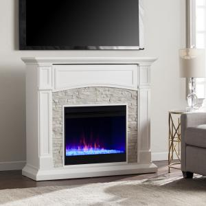 Sanstone Color Changing Electric Fireplace, White