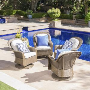 Lawrence Outdoor Wicker Swivel Club Chairs with Cushions, Brown,Ceramic Grey