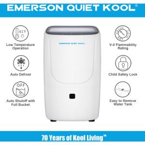 Emerson Quiet Kool High Efficiency 50-Pint SMART Dehumidifier with Built-In Vertical Pump, plus Wi-Fi and Voice Control