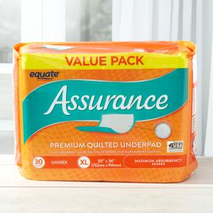 Assurance Maximum Absorbency Unisex Premium Quilted Underpad Value Pack, XL, 30 count