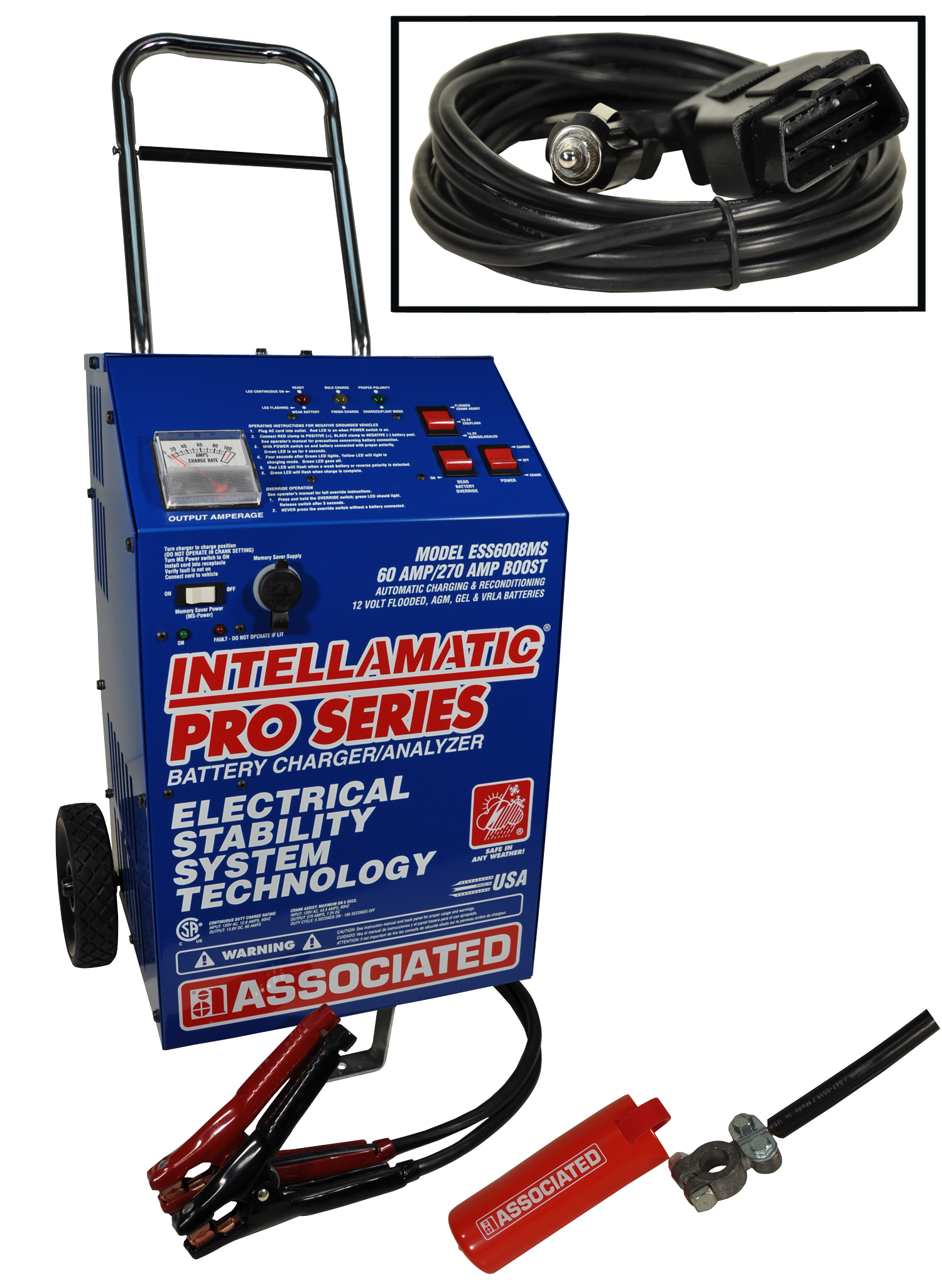 Associated ESS6008MSK – Charger, 12V 60A, Intellamatic, Wheels (ESS) With 15Amp Memory Saver Port + MS6209-12 + CC6212
