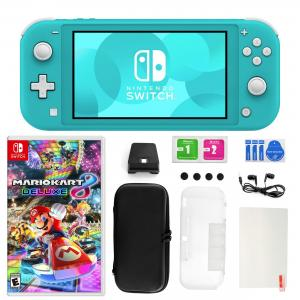 Nintendo Switch Lite in Turquoise with Mario Kart 8 Deluxe and 11 in 1 Accessories Kit