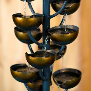 TALL MULTI LEVEL ZINC METAL STACKED CUPS FOUNTAIN