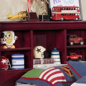 American Furniture Classics Solid Pine Twin Captains Bookcase Bed with Twin Trundle and 3 drawers in rich Merlot