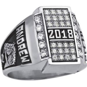 Personalized Men's Crest CZ Pave Top Class Ring available in Valadium, Silver Plus, 10kt and 14kt Yellow and White Gold
