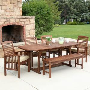 Manor Park 6-Piece Outdoor Patio Dining Set with Cushions, Dark Brown