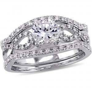 1 Carat T.G.W. Created White Sapphire and 1/4 Carat T.W. Diamond 10kt White Gold Infinity Three-Piece Bridal Set