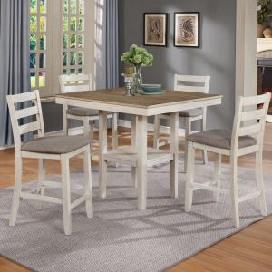 Crown Mark White Tahoe 5-Pk Counter Height Dining Set, 2 tone white and wheat finish 36″ table with 4 chairs