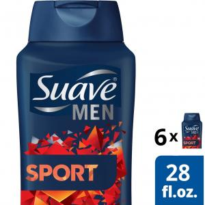(6 pack) Suave Men Body Wash Sport 28 oz
