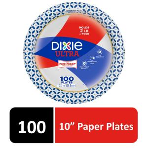 Dixie Ultra Paper Dinner Plates, 10 1/16″, 100 Count