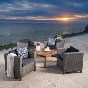 Cascada Outdoor 5 Piece Wicker Club Chair Set with Wood Coffee Table, Teak Finish, Dark Grey, Mixed Black