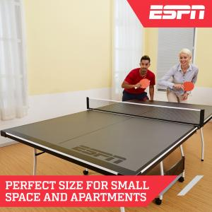ESPN Mid Size 15mm 4-Piece Indoor Table Tennis Table, Accessories Included, Black