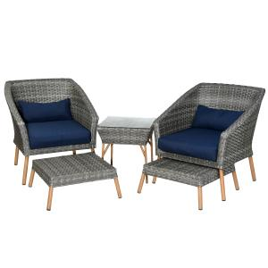 5-Piece Gray All Weather PE Wicker Furniture Set