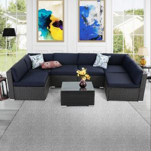 MF Studio 7 Pieces Outdoor Sectional Sofa Sets All-Weather PE Rattan Conversation Sets With Glass Table (Blue)