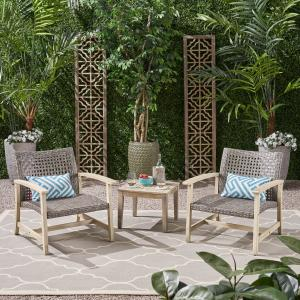 Camdyn Outdoor 3 Piece Wood and Wicker Club Chairs and Side Table Set, Mixed Black