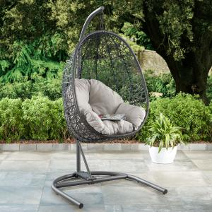 Better Homes & Gardens Open Weave Patio Wicker Hanging Chair with Stand and Beige Cushion with maximum weight 250lbs