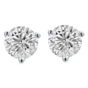 1.00 Carat T.W. Round Diamond 14kt White Gold Martini Stud Earrings, IGL Certified, Comes in a Box
