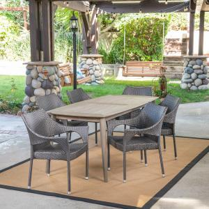 Paityn Outdoor 7 Piece Wicker Dining Set with Rectangular Acacia Wood Dining Table, Gray, Gray