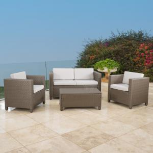 Cascada 4 Piece Wicker Chat Set with Cushions and Cover, Brown, Ceramic Grey