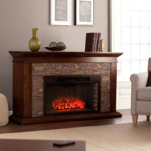 Bodilla Electric Fireplace with Faux Stone, Whiskey Maple