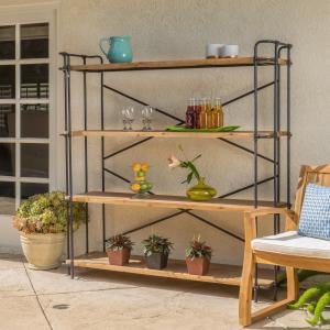 Noble House Jamestown Outdoor Industrial 4 Shelf Firwood Bookcase, Antique Brown, Blue, and Black