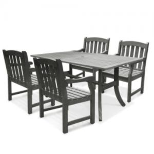 Vifah Renaissance Outdoor Patio Dining Set 4-seater Acacia Wood with Curved Leg Table and 4 Classic Chairs