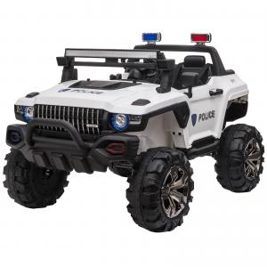 Aosom 12V Kids Electric 2-Seater Ride On Police Car SUV Truck Toy with Parental Remote Control